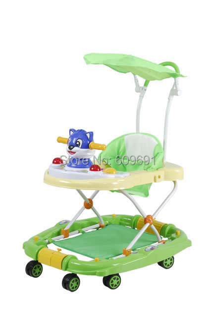 cheap plastic baby walker, functional big wheels rolling walker/carrier