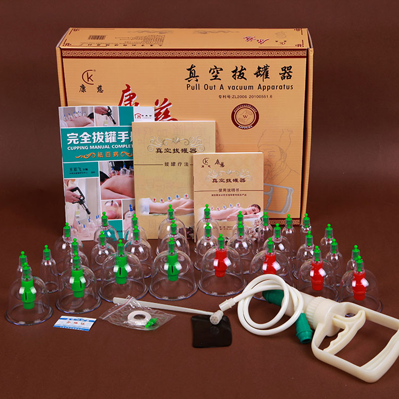 Free Shipping 30 Cups Chinese Message Treatment Relaxation Pull out A Vacuum Apparatus Vacuum Cutem Magentic Cupping Set Device(China (Mainland))