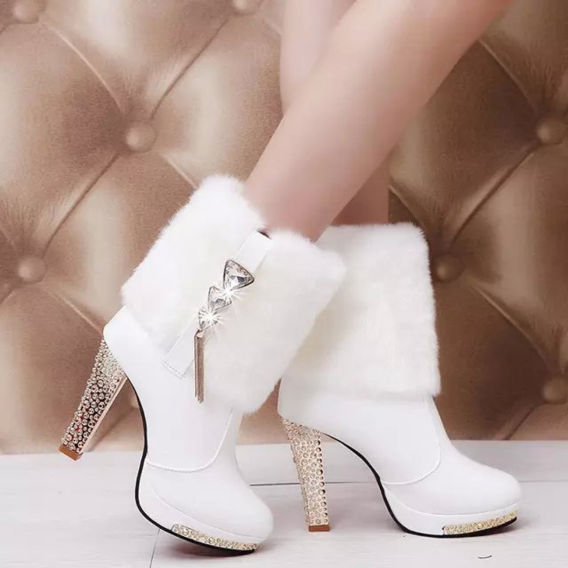 Гаджет  Ankle boots white shoes woman 2015 winter female bridal shoes platform thick heel ankle boots for women wedding rhinestone #828 None Обувь