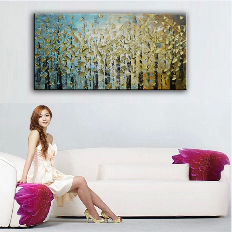 Buy 100% hand painted oil painting Home decoration high quality canvas Abstract knife painting pictures cheap