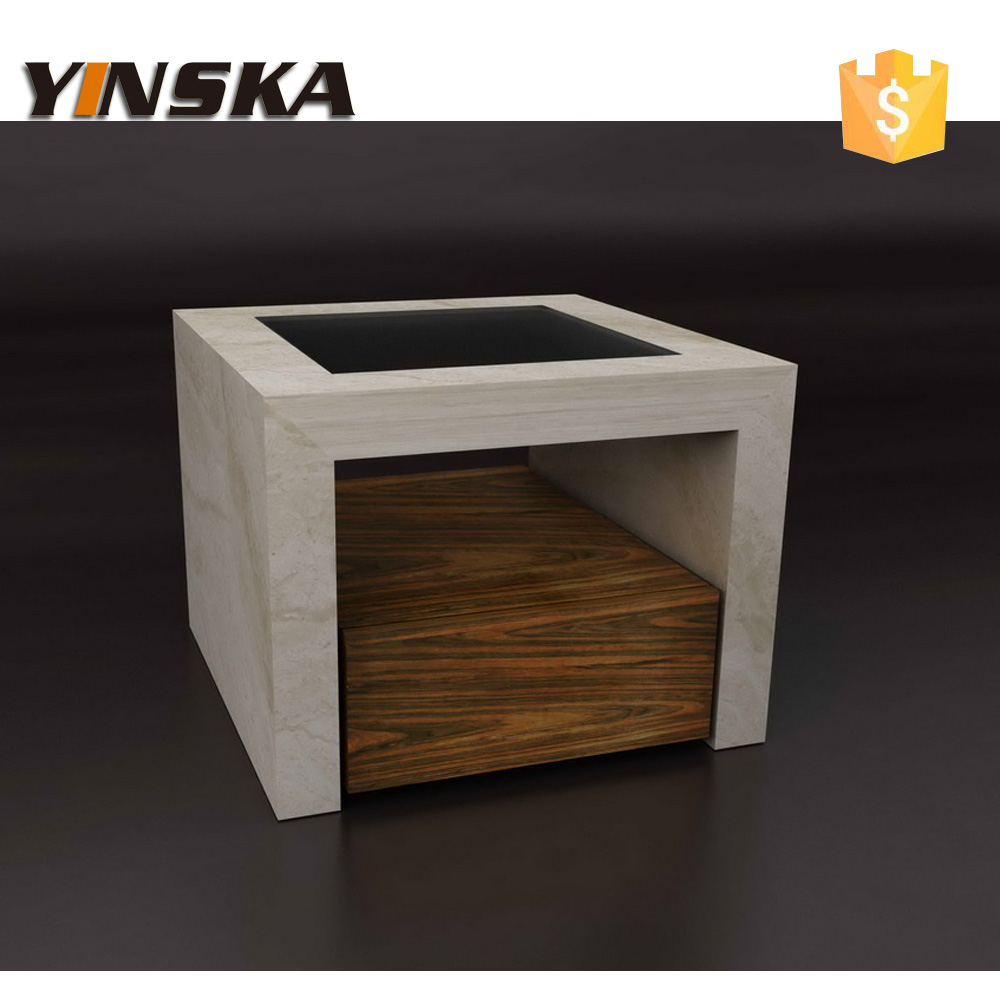 Marble Coffee Table With Drawers: 3 Pieces Small White Travertine Marble Coffee Table With
