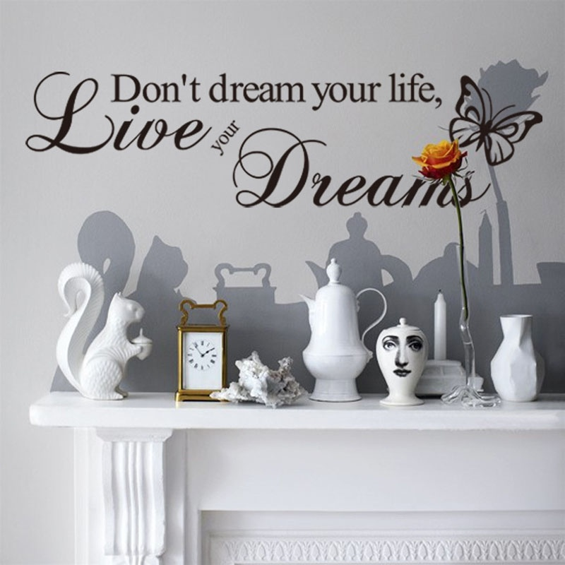 1PCS Word Live Your Dream Butterfly Quote Wall Sticker Room Decor Art Removable Decal Beautiful Home Household(China (Mainland))