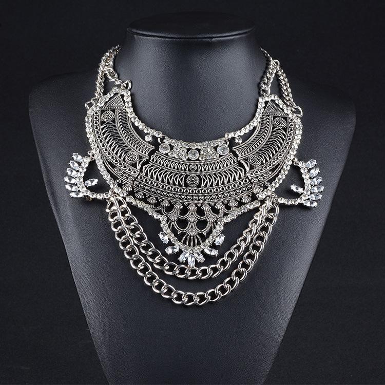 2015 Fashion Vintage Multilayer Maxi necklace Antique Silver Crystal Collar bib Gypsy necklaces pendants women fine
