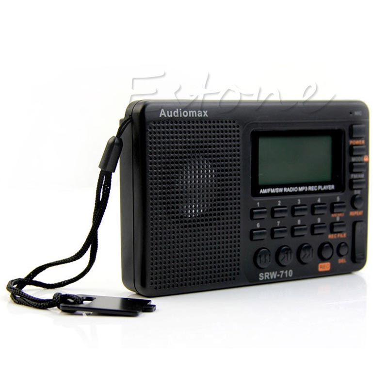 Free Shipping Portable Digital Tuning LCD Receiver TF MP3 REC Player FM AM SW Full Band Radio(China (Mainland))