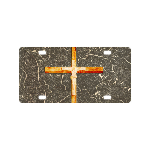 Vogue Personalized Wooden Catholic Cross Metal Car License Plate Cover 12 x 6 Free Shipping(China (Mainland))