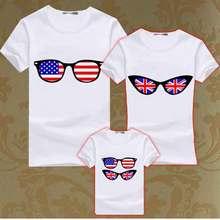 Fashion Family font b T Shirt b font Boys Girl Couple Matching Clothes Kids Flag Glasses
