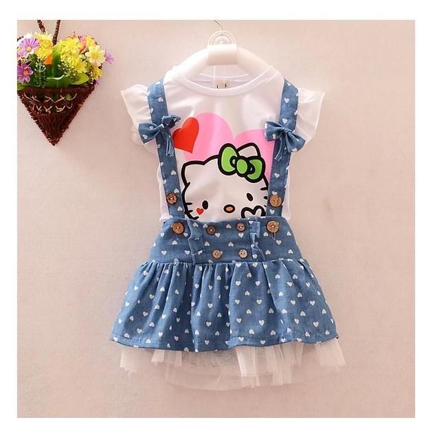 Девочки летние дети комплект одежды девушки летом установить кот топ джинсы подтяжк ...