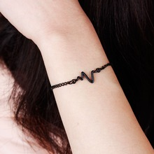 3 colors New Arrival Heart beat Heartbeat Rhythm Chain Bracelet with Dangling Fashion Women Jewelry Bracelets Gold silver black(China (Mainland))