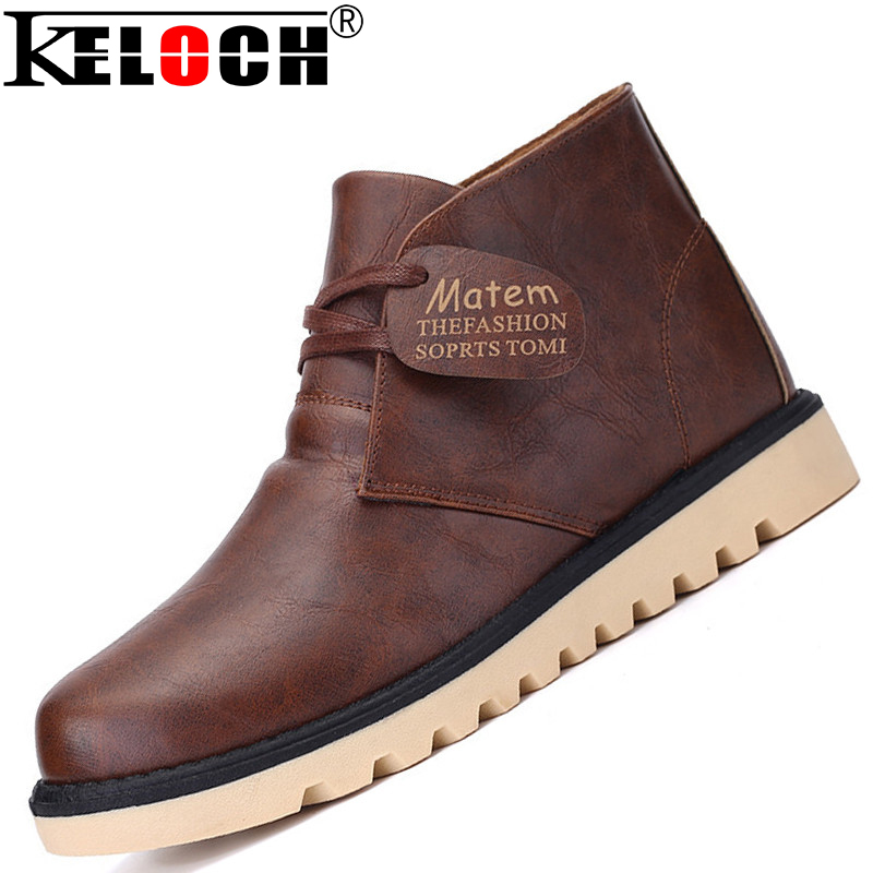 Waterproof Men'S Leather Boots Pu Chukka New 2015 Mens Martin Shoes Fashion Men Winter