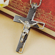 Classical Catholic Church Stainless Steel Jesus Cross Necklace Religion Crucifix Pendant Jewelry For Men&Women Black/Gold/Silver
