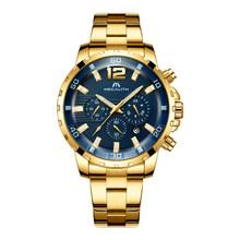 MEGALITH prix de gros montres de sport hommes mode militaire chronographe étanche en cuir noir montres à Quartz pour homme(China)
