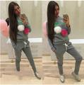 New Hooded Sporting Suits Women Sportwear Set Patchwork Cherry Womens Tracksuit Set Tie Collar Hoodies Sweatshirt