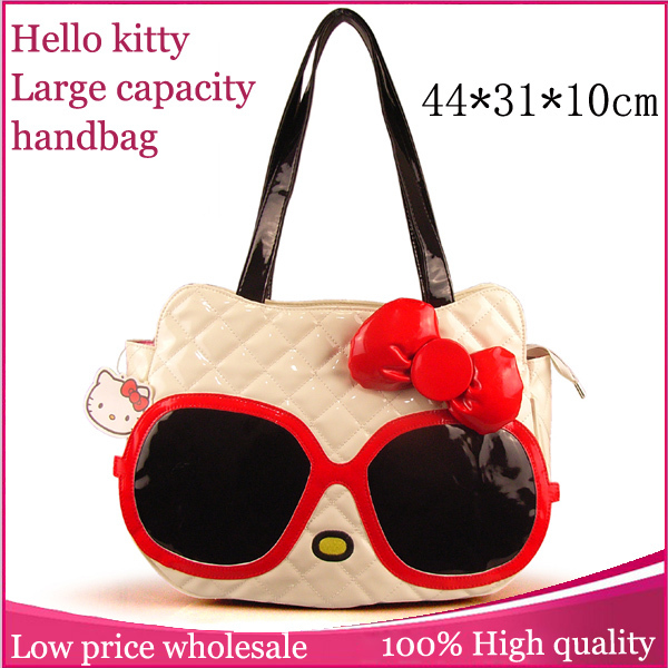 2015 Hot Selling Women Fashionable Handbag Novelty Sunglasses Model Shoulder Bag Red Bow Casual Tote Bags Hello Kitty Handbags(China (Mainland))