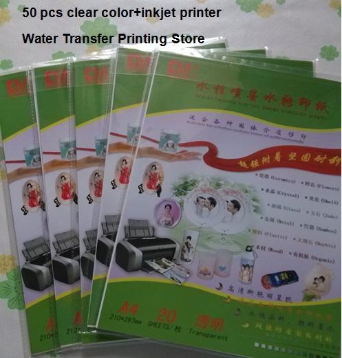 (50 pcs/lot) LR-001 Art Paper Water Transfer inkjet clear/transparent base water slide decal paper(China (Mainland))