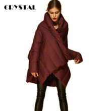 2016 New Fashion Designer Women's Winter Coat 90% White Duck down Irregular Medium Long Parka Red / Black Free Size