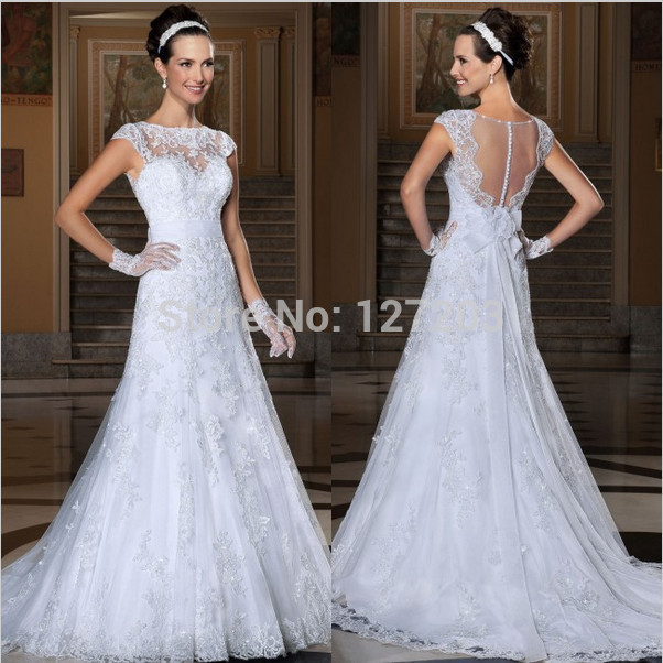 2015 Custom Made vestido de noiva see through back sexy wedding dresses vestido de casamento romantic bridal gown(China (Mainland))