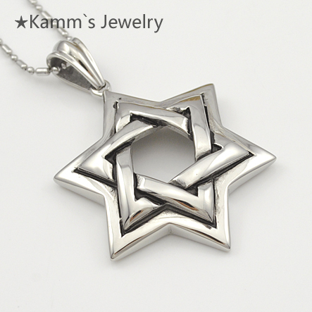 Top Quality! Star Of David Stainless Steel Pendant Necklace Fashion Heavy Cool Wholesale Free shipping KP935(China (Mainland))