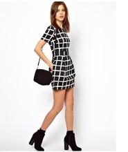 Women Summer Dresses New 2015 OEM Hot  Casual Round Neck Short-sleeved Plaid Dress Elegant Plus Size Chiffon Dress 88536(China (Mainland))
