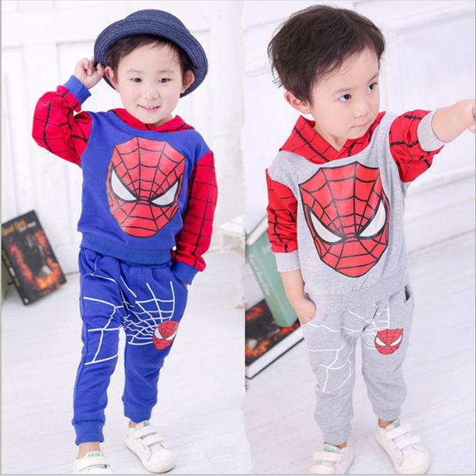 New 2016 spiderman Baby boy Sets boy jogging suits sports clothing children tracksuits kids clothes sets roupa infantil J0135(China (Mainland))