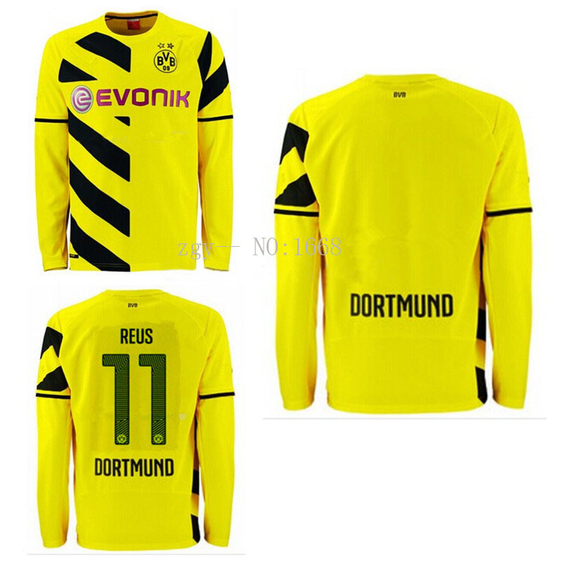 Thai quality kits 14 15 Borussia Dortmund long sleeve Soccer Jersey REUS GUNDOGAN home football shirts BVB soccer uniforms+logo(China (Mainland))