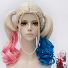 Free Shipping 45cm Short Harleen Quinzel Harley Quinn Color Mixed Synthetic Anime Cosplay Wig(China (Mainland))