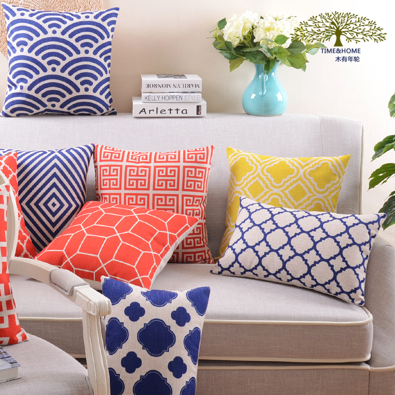 Free shipping geometric patterns linen-cotton pillow cover variety of specifications wedding car decoration office sofa cushions(China (Mainland))