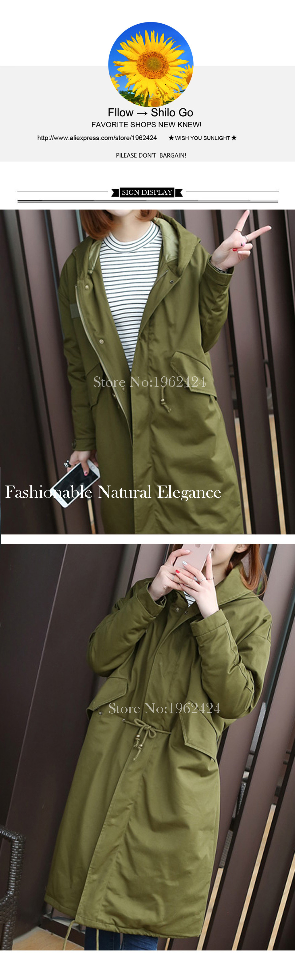 HOT 2016 Winter new fashion women high quality Korean super loose hooded thick warm army green cotton longer section Pike & XXL