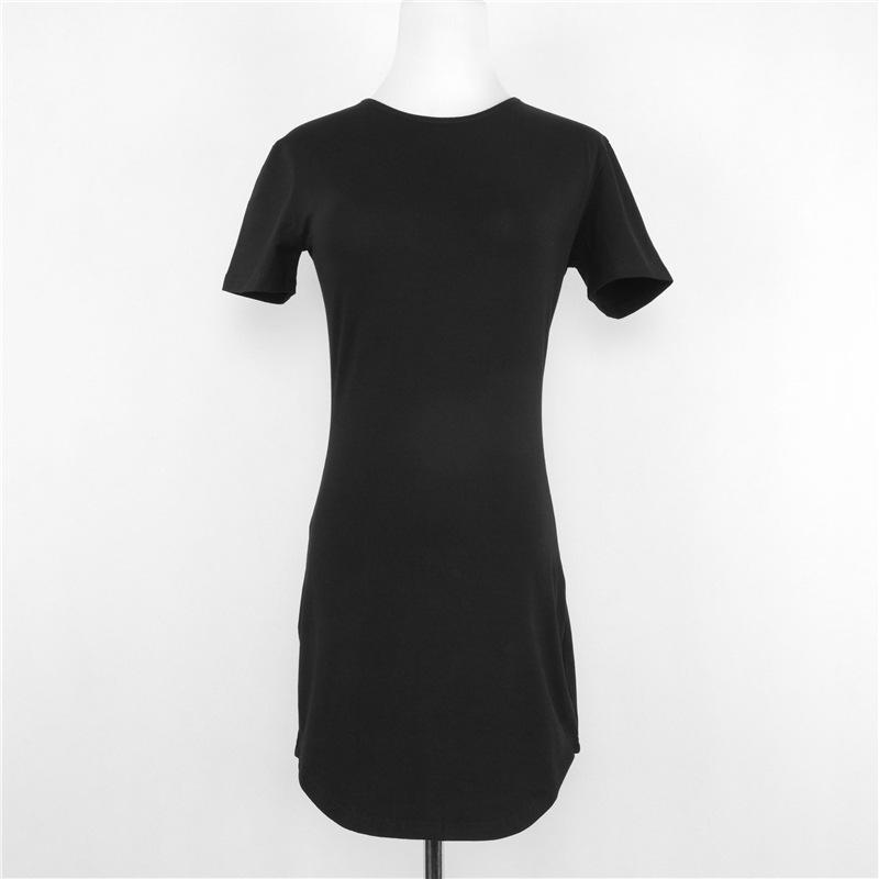 summer dress O-neck solid curved hem women robe sexy tunique vestido robe style ropa mujer roupas feminina pretty style dress