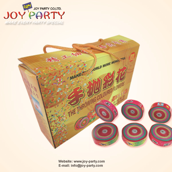 Free shipping 36pcs/box Dia.6.5cm colorful Hand Throwing Party Popper Frisbee Paper Confetti Wedding Celebration Party Favor(China (Mainland))