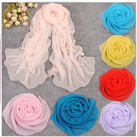 2015 fashion Designer 10pcs with mix colours solid color chiffon silk scarf plain shawl 160*50cm muslim hijab(China (Mainland))
