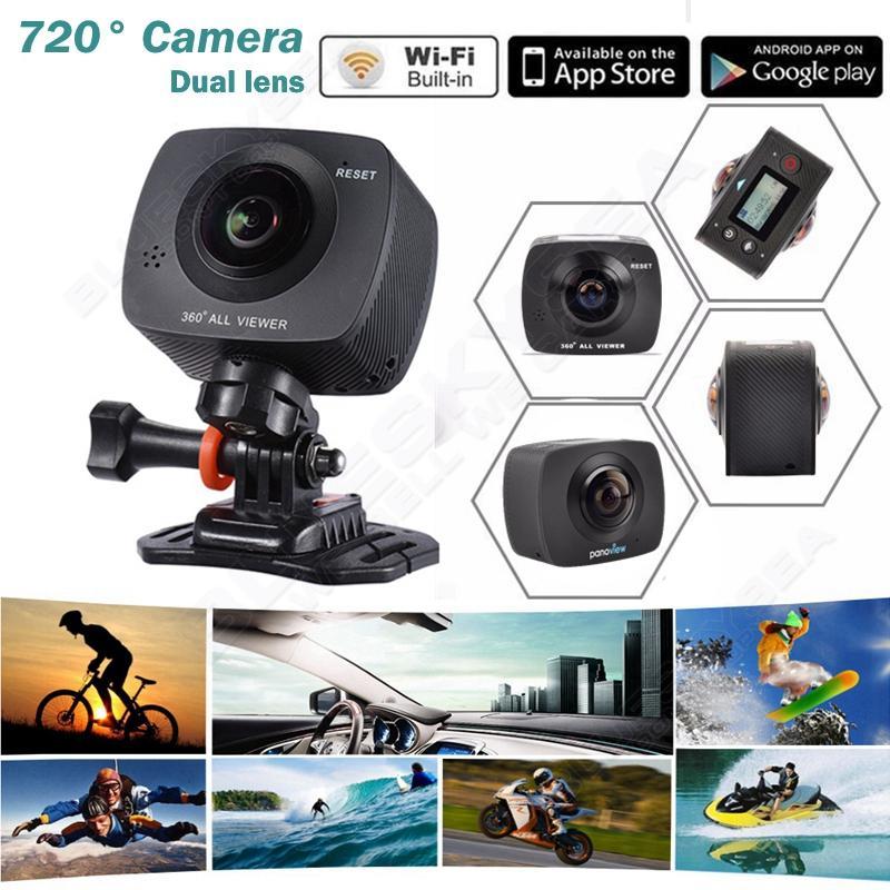 ถูก จัดส่งฟรี!แบบDual-เลนส์360/220องศาWiFi PanoramicกีฬาการกระทำVRกล้องHD 720จุด8MP