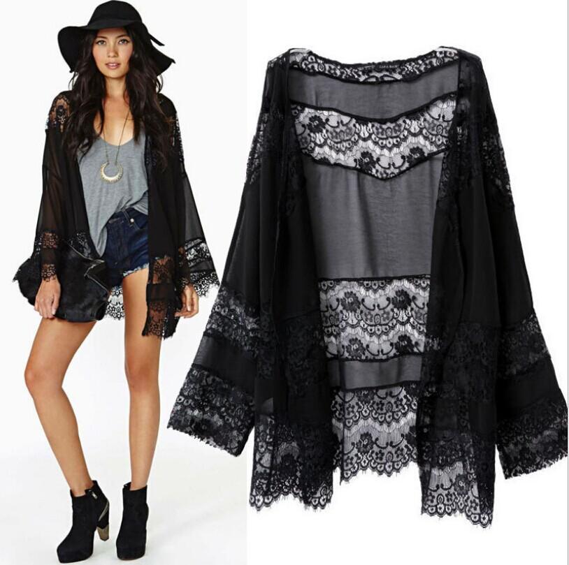 Fashion Ladies' elegant lace spliced Black Pink Kimono outwear loose vintage cape coat casual cardigan brand designer tops 244(China (Mainland))