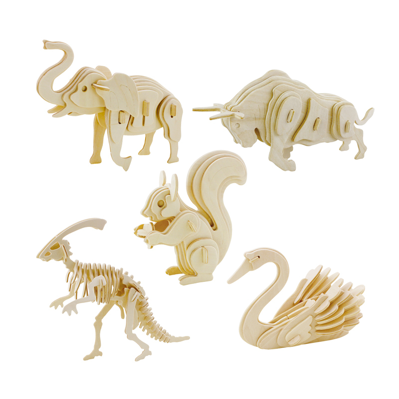 3d three-dimensional wooden animal jigsaw puzzle toys for children diy handmade wooden jigsaw puzzles Animals Insects Series(China (Mainland))