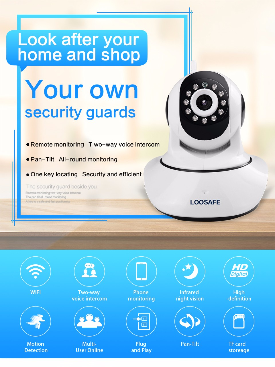 LOOSAFE HD 720P Wireless IP Camera WIFI Onvif Video Surveillance ...