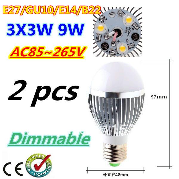 2pcs/lot Bubble Ball Bulb 3LED 9W E27 GU10 High power Ball steep light LED Light Bulbs Lamp Lighting Free shipping