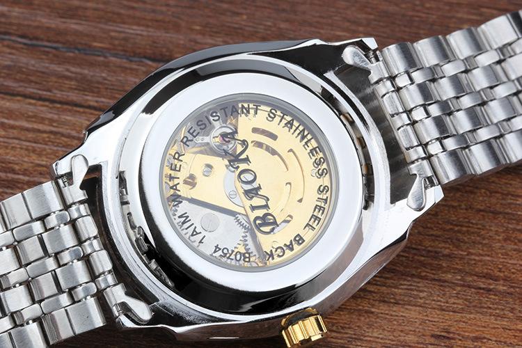 2016 НОВЫЕ марка BIAOKA мужские часы из розового золота римские цифры мужская Стальной Каркас механические часы Montre Homme Наручные Часы