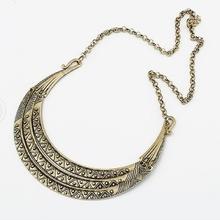 1PCS Vintage Metal Collares Three Layers Gold Statement Crescent Tribal Bib Women Collar Necklace #51537(China (Mainland))