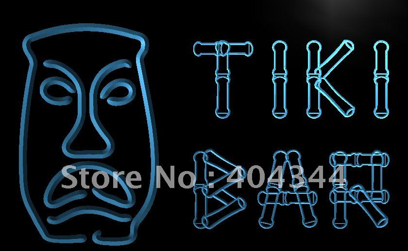 LB552- Tiki Bar Bamboo Display Mask LED Neon Light Sign home decor shop crafts(China (Mainland))