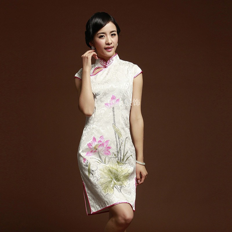 Improved short cheongsam qipao fashion vintage slim sexy white lotus tang suit cotton(China (Mainland))