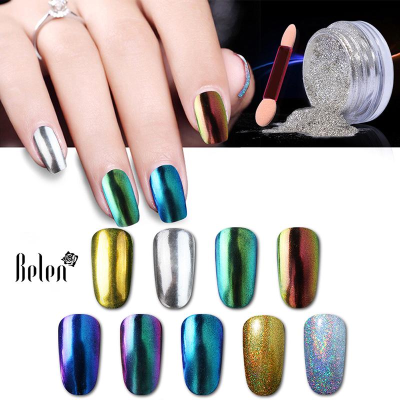 Belen 3D Shiny Silver Gold Vtirka Nail Glitter Powder Magic Mirror Chrome Pigment Nail Glitters Nail Polish Dust 1g Colors(China (Mainland))
