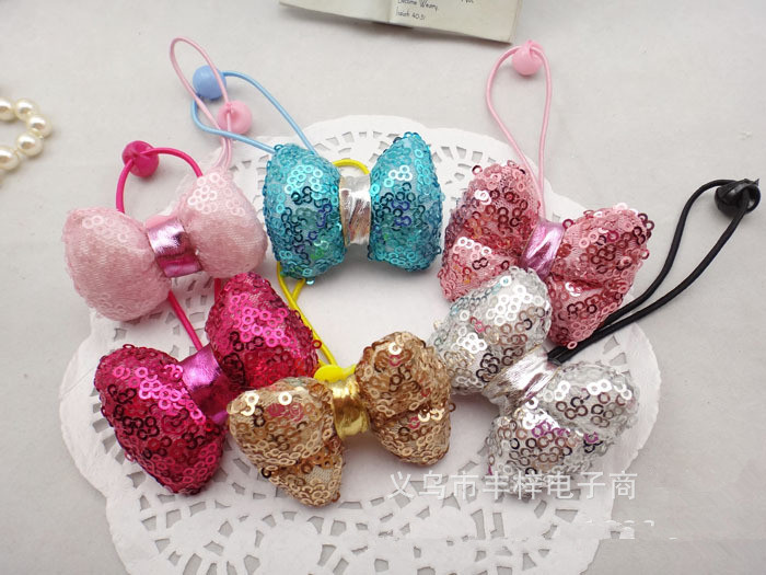 2016 Fashion fabrics hair accessories lovely Sequins bowknot with vigogne yarn hair bands multi color rubber bands 20pcs/lot(China (Mainland))