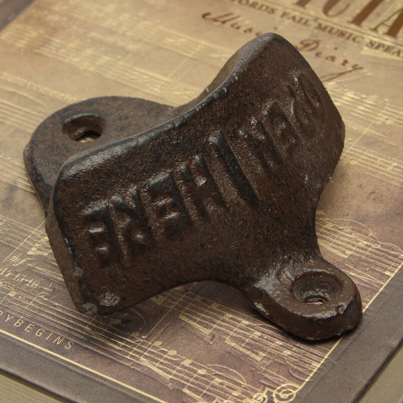 Free shipping 2016 New Retro Home Kitchen Bottle Opener Open Beer Iron Cast Wall Mount Cap Bar Gift Antique(China (Mainland))