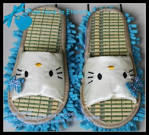 Wholesale -women's summer dust mop slipper ,indoor slipper ,hello kitty  floor slipper,Chenille Fibre sole,2 pcs/lot