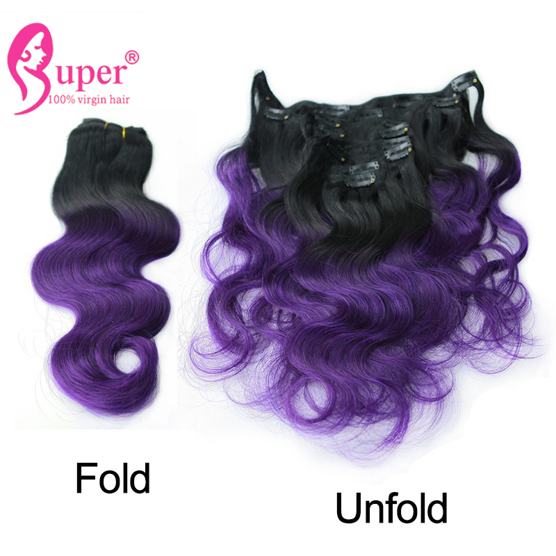 Ombre Purple Hair Brazilian Body Wave Remy Human Hair Clip In Extensions 7 PCS Lot Clip Ins