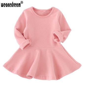 WEONEWORLD 2016 Baby Girls Dresses Candy Color Long Sleeve Spring and Autumn Toddler Dress Girls O-neck Ruffles Princess Dress