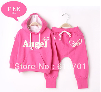 Retail 2013 autumn New Girls Boys kids suit 1 Set 2Pieces Wings Sports Casual Clothing Suits children Clothes free shipping!