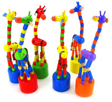 Children Toys Wooden Crafts Cartoon Giraffe Cask Swing Animal Puppet Joints Toy Free Shipping(China (Mainland))