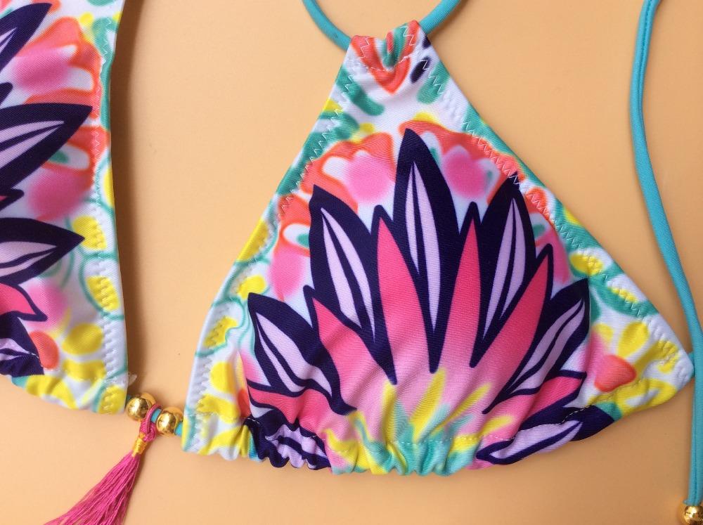 Women V Style Print Floral Swimwear Push Up Bikini Set Vintage Swimsuit Bandage Bathing Suit Sexy