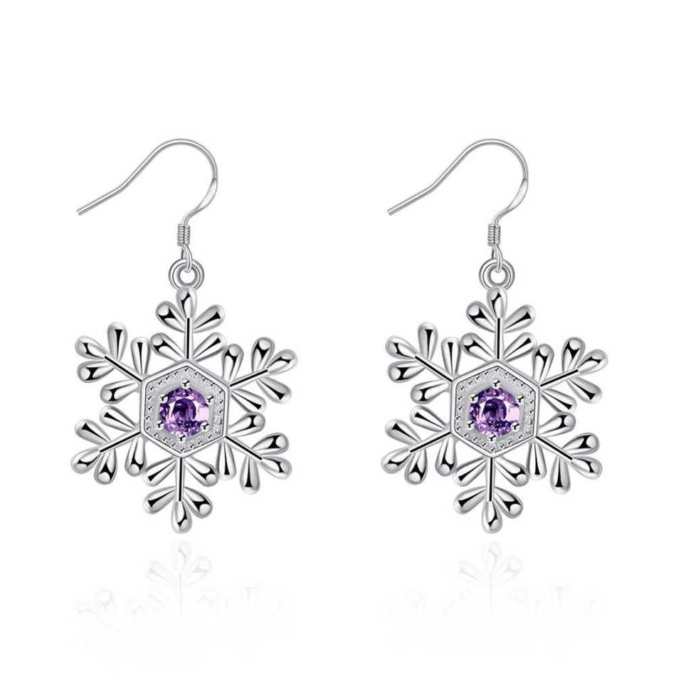 ethnic silver earrings stud silver 925 Plate With Silver Snow Ear Nail Fashion With Zirconium Woman A Hypoplastic Vagina Jewelry(China (Mainland))