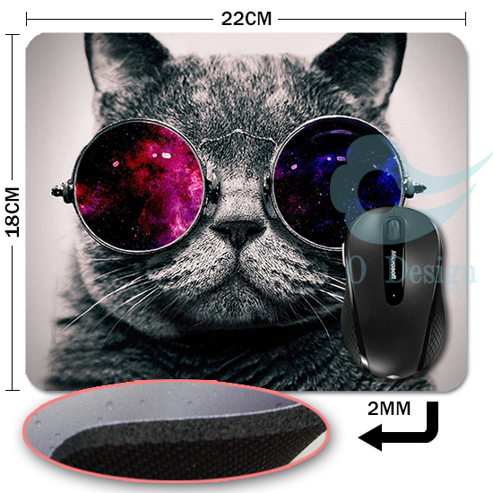 Гаджет  Free Shipping sizes 220*180*2(MM) Cat With Galaxy Glasses Mouse Pads, Designs Animals Cat  None Компьютер & сеть